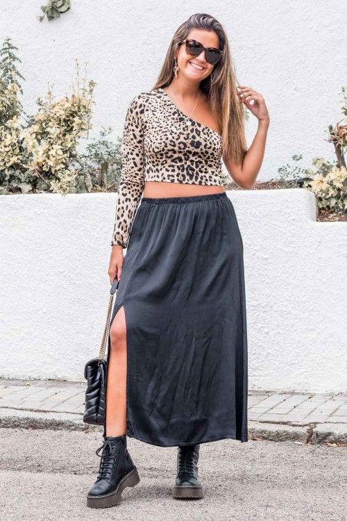 Comprar Falda Raso Leopardo Online