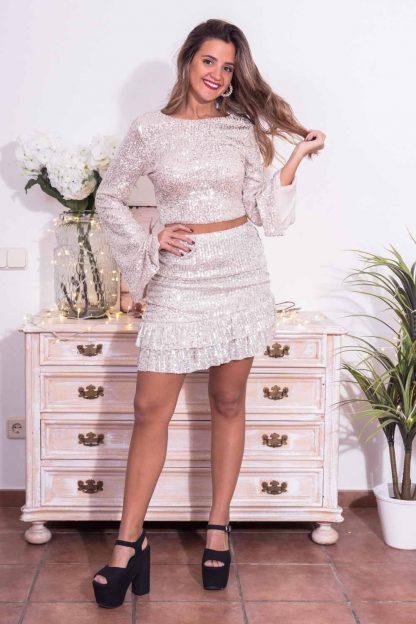 Comprar Falda Asimétrica Volantes Online