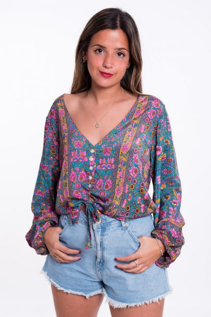 Comprar Blusa Boho Anudada Turquesa Online