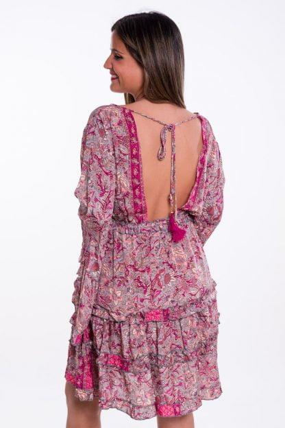 Comprar Vestido Boho Corto Rosa Online