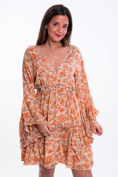 Comprar Vestido Boho Corto Naranja Online