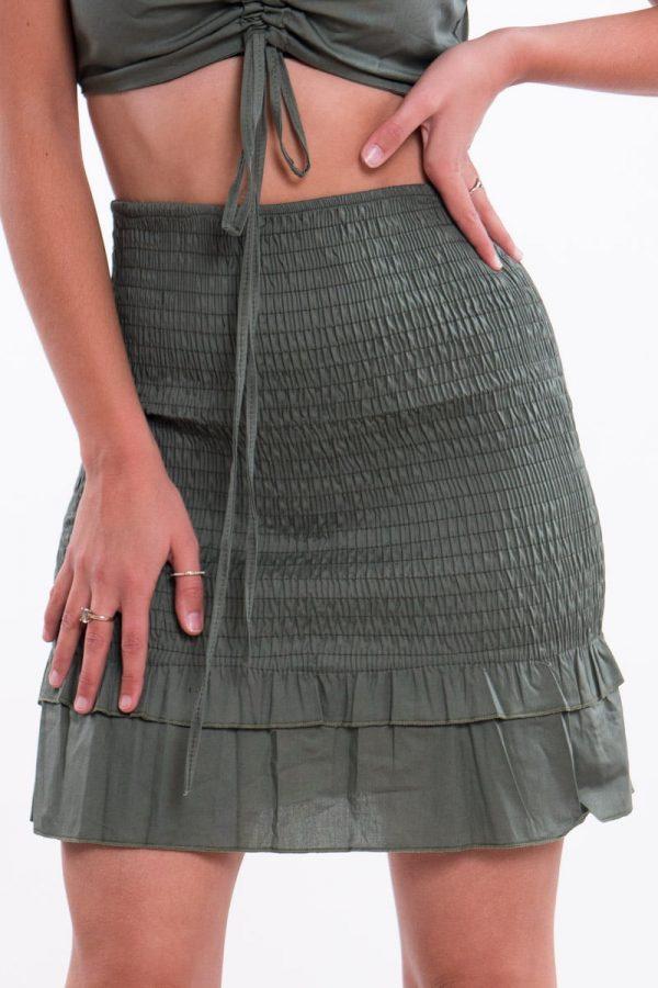 Comprar Falda Nido de Abeja Volantes Online