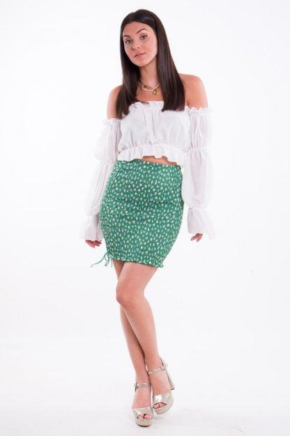 Comprar Falda Flores Fruncida Online