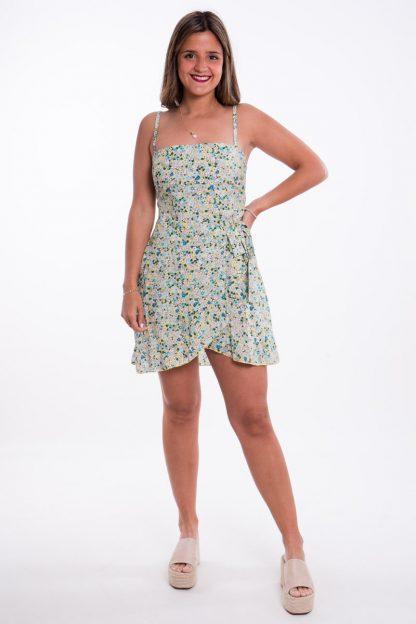 Comprar Vestido Flores Cruzado Tirantes Online
